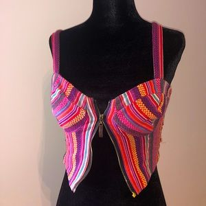 Woman's pink zip up crop top size small. Design.